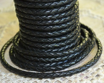 1 Meter of 4mm Black Braided Bolo Leather Cord Round