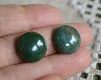 2pcs Cabochon 14mm Round Gemstone African Jade Green Pendant