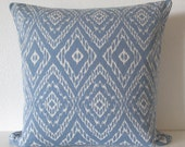 Robert Allen Strie Ikat Rain blue ivory decorative pillow cover