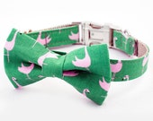 Bow Tie Dog Collar -  Flamingo Green and Pink