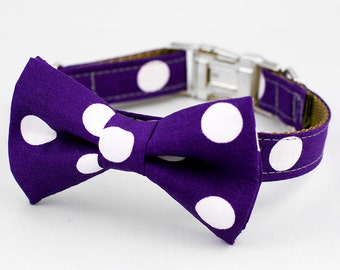 Bow Tie Dog Collar - Purple Dot