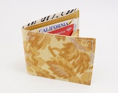 Vintage Victorian Floral Upholstery Wallet,  Mustard and Cream Embossed Colors, Made of 1960s Furniture Vinyl