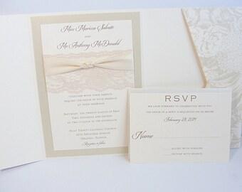 Lace Wedding Invitations, Lace Wedding Invite, Wedding Invitations, Wedding Invite, Floral Invite, Vintage Invitation HAYLEY - BLOOM