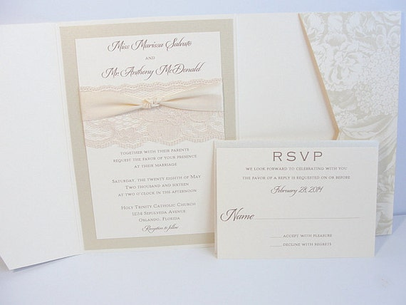 Lace Wedding Invitations, Lace Wedding Invite, Wedding Invitations, Wedding Invite, Floral Invite, Vintage Invitation HAYLEY - BLOOM