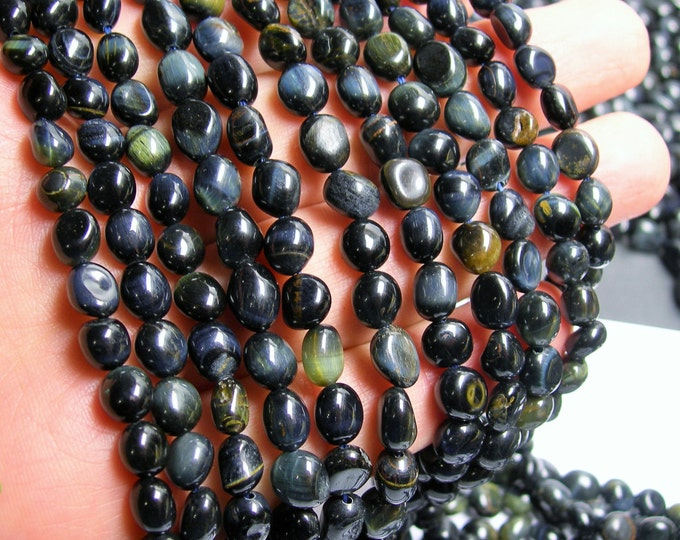 Blue tiger eyes - pebble - nugget - 1 full strand - PSC129