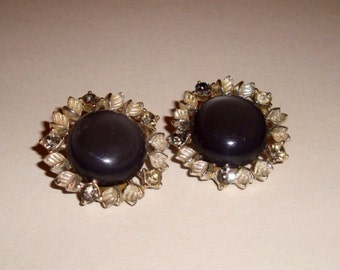 SALE    1980's round earrings with black center stone surrounded by  faux diamond outer stones