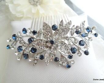 Bridal Blue Swarovski Crystal Wedding hair Comb Wedding Hair Accessories Vintage Style Blue Leaf Rhinestone Bridal Hair Comb KATY
