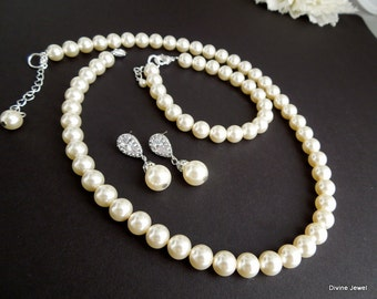 Bridal Pearl Necklace Set Ivory Swarovski Pearls Bridal Classic Necklace Set Bridesmaid Necklace Bracelet Wedding Pearl Necklace Set MAUDREY