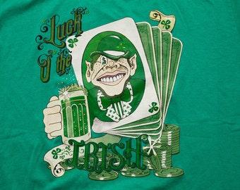 Luck O the Irish T-Shirt, Leprechaun Beer & Gambling, Vintage 80s-90s