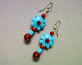 Red and Blue Flower Earrings (1262)