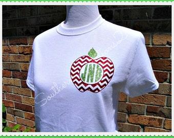 Monogrammed Chevron Teachers Apple Glitter t shirt 56 tshirt colors to choose from Short Sleeved