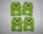 Feltie Machine Embroidered Hand made (4) Frog CUT Embellishments / appliques