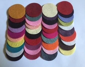 Wool Felt Circles 40 - 1 1/2 inch Random Colored 2684 - felted circle - circle die cut - headband supplies