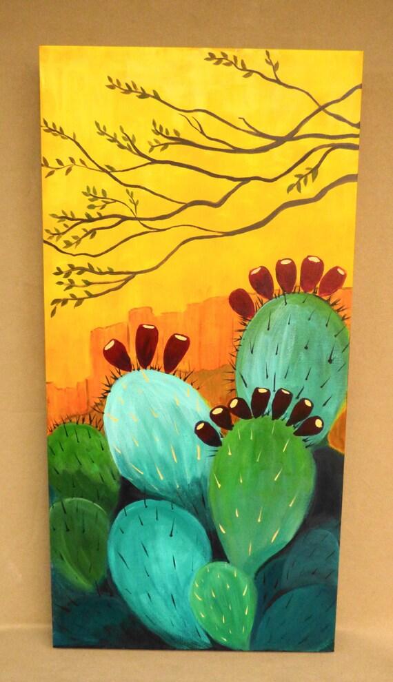 cactus painting southwest landscape art contemporary