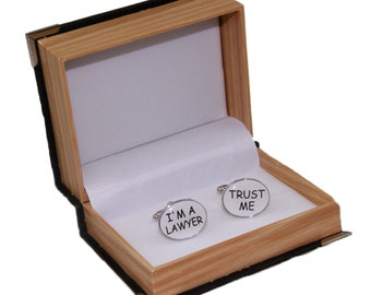 "Men's ""I'm A Laywer Trust Me""  Cufflinks and Gift Box"