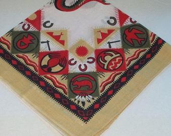 Vintage Bandana Scarf Southwest Aztec Print Made USA Retro 80s Fashion Head Scarf Neck Purse Kerchief Scarf Accessory