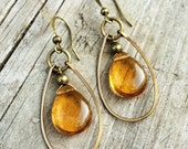 Teardrop Earrings in Yellow Amber Czech Glass with Hammered Antiqued Brass Hoops