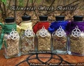 ELEMENTAL WITCH Bottles Set Of 5 or 7 Your Choice, For Elemental Honouring, Spellcraft, Watchtower Magick, Sacred Offerings, Witchcraft