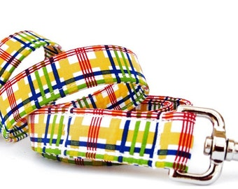 Sunshine Plaid Dog Leash in Yellow Red Navy and Green