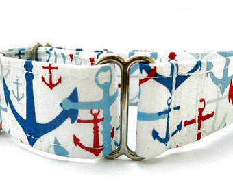 Nautical Martingale Dog Collar - 1.5 Inch Width