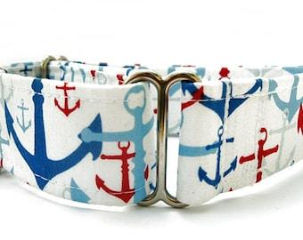 Nautical Martingale Dog Collar - 1.5 Inch Width
