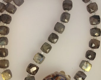 Andrea Guarino Artisan Bead Necklace with Labradorite and Aquamarine
