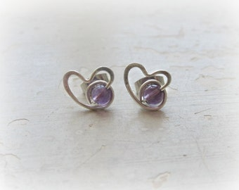 Amethyst Heart Stud Earrings, Sterling Silver Posts, Wire Wrapped, February Birthstone, Sterling Heart Studs, Hypoallergenic, Amethyst Studs