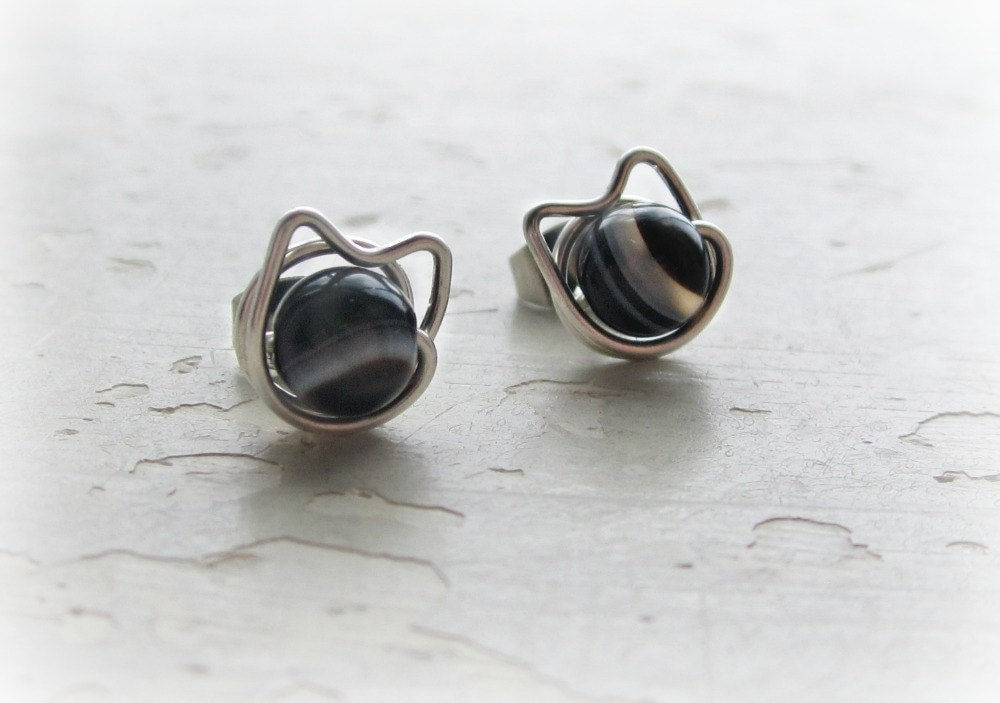 black cat stud earrings sterling silver posts pet lover