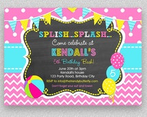 Girls Pool Party Invitation , Children's Pool Party Invitation