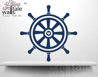 Ship Wheel Nautical Wall Decal, boat wheel with heart wall decal for baby boy nursery room.SKU04