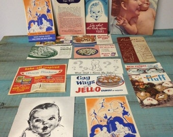 Vintage Advertising/Recipe Paper Ephemera Lot, 1930's,1940's,1950's