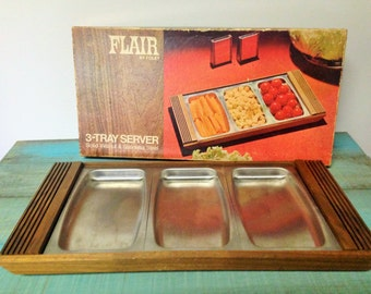 Flair by Foley 3 Tray Server, Mid Century Modern Serving Platter, Wood Serving Platter, Metal Serving Platter