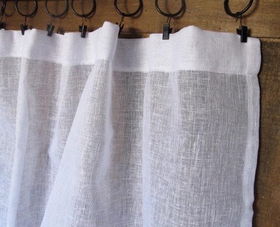 Sheer white linen panel french linen window curtain sheers for Linen sheer window panels