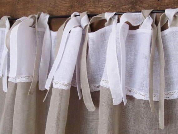Linen Kitchen Curtain Ecru Cafe Curtain French By