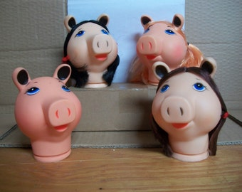 "Large 5-Inch Plastic/Vinyl Pig Doll/Puppet Head - ""Miss Piggy"""