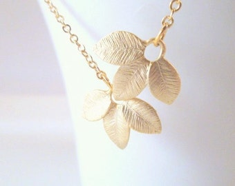 Gold Leaf Necklace - small textured matte gold plated leaflet trio charms - for simple minimalist wear