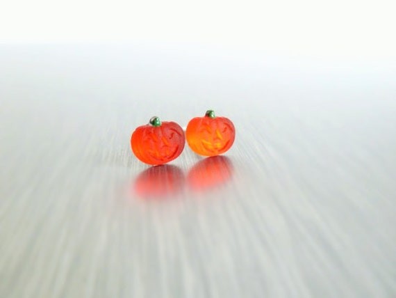 Tiny Pumpkin Earrings - micro miniature glass harvest patch studs with surgical steel posts for pierced ears - Jack o Lantern