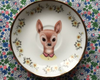 Little Doe with Ditzy Floral Vintage Illustrated Plate