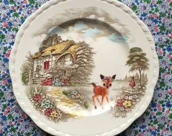 Flower Deer in Country Scene Vintage Illustrated Large Plate