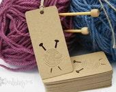 X30 Kraft Knitting Tags labels craft tags crafting gift tag