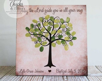 Baptism Fingerprint Tree Sign, Baptism Or Christening Guest Book Alternative, May The Lord Guide You In All Your Ways
