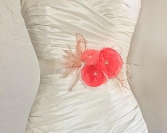 Coral and Blush Flower Bridal Sash, Pink Coral Wedding Sash, Coral Bridal Belt, Pink Wedding, Pink Bridal Belt, Bridal Accessories