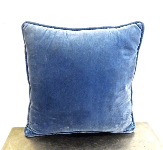Vintage Blue Throw Pillows : RESERVED for Gianna / vintage blue velvet throw pillow by mkmack