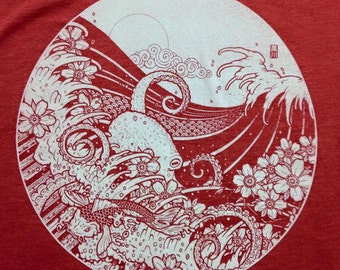 Japanese Tattoo Style Original Art Screen printed T-shirt - Waves, Octopus, Cherry Blossom, Moon, Koi (Red - Unisex)