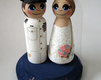 Wedding Cake Topper / Custom Painted Wood Peg Dolls with Plaque / Military
