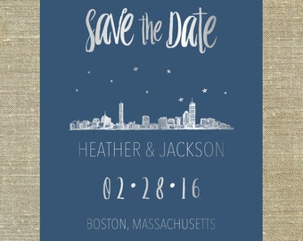 "Boston Massachusetts ""Lovetown"" Save the Date silver foil on navy card stock LETTERPRESS DEPOSIT LISTING"