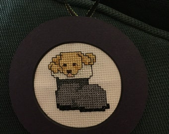 Santas Puppy Cross Stitch Ornament