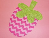 Iron On Fabric Applique Pink Stripe CHEVRON Chunky STRAWBERRY