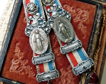 Antique Virgin Mary Earrings, Lady Liberty, A New Flag, Emancipation Proclamation for EveryWoman, by RusticGypsyCreations