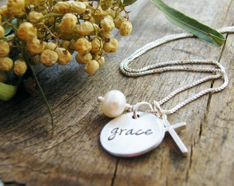 long chain grace necklace sterling silver hand stamped  charm necklace with cross and pearl